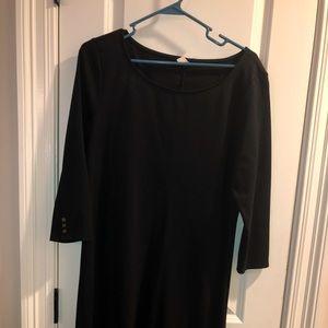 Black Knee length shift dress 3/4 sleeves